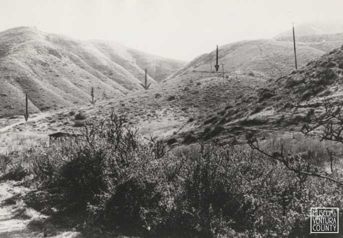 Remains of the first wagon road down the Conejo Grade.