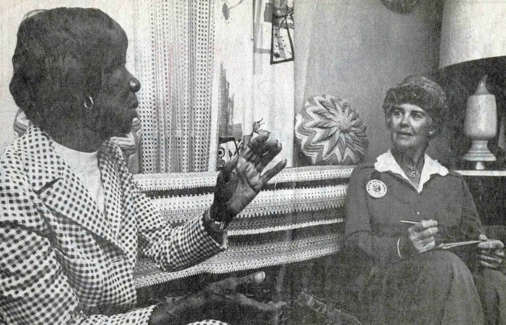 Annie Smith being interviewed by Museum of Ventura County docent Mary Johnston on April 11, 1979