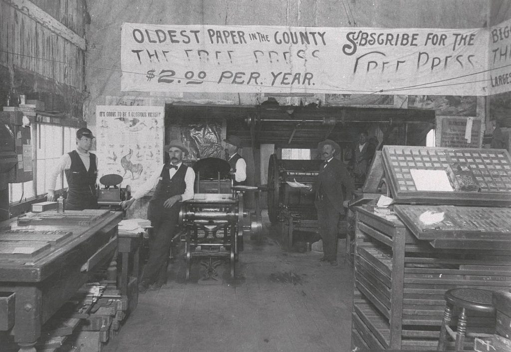 Interior of the Free Press office during the 1896 visit of President William McKinley.