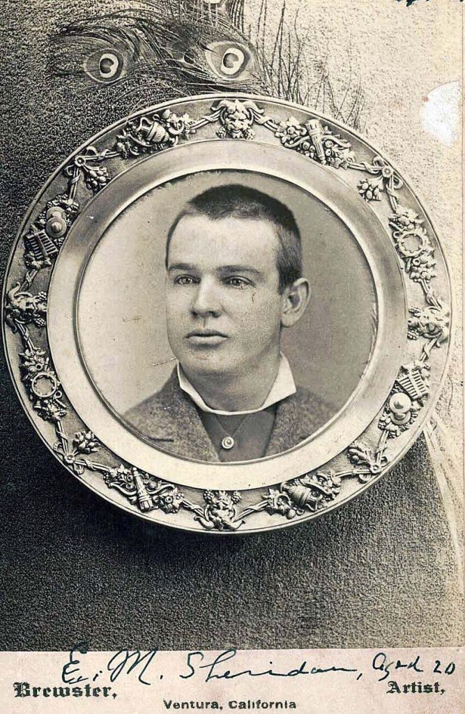 Antique photo of Edwin Sheridan within in a circular frame with an ornate design.