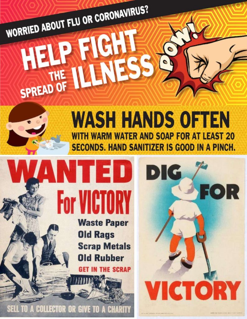 Collage of three posters related to helping fight illness and war.