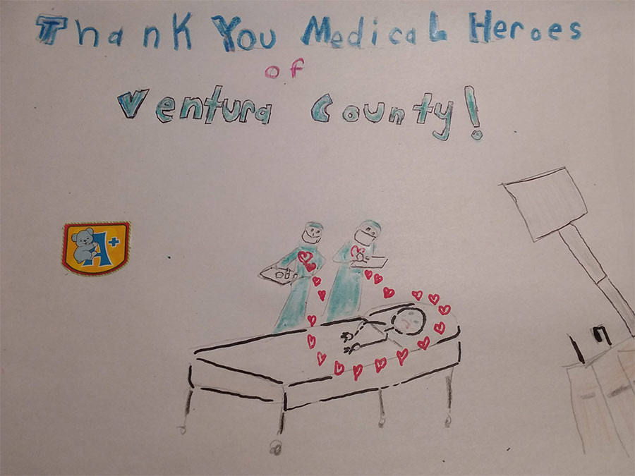 "photo of drawing with the words ""Thank you medical Heros of Ventura County!"""