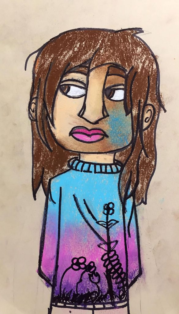 crayon of kid with long hair and a sweater