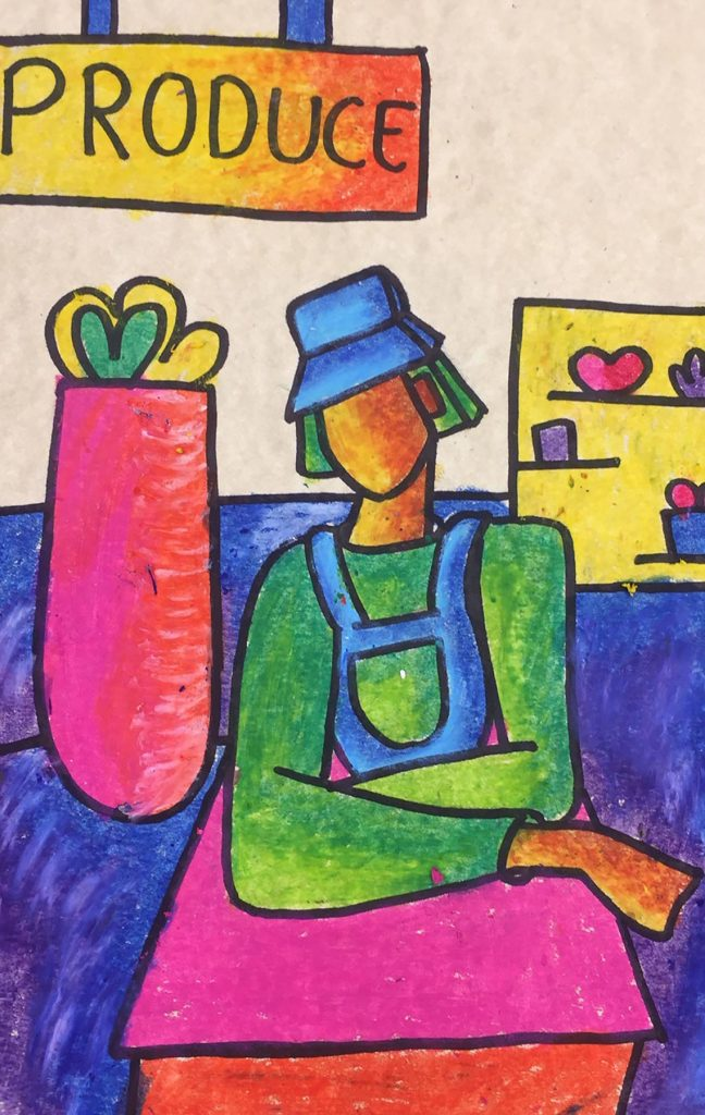 artwork of indistinct person at a produce stand