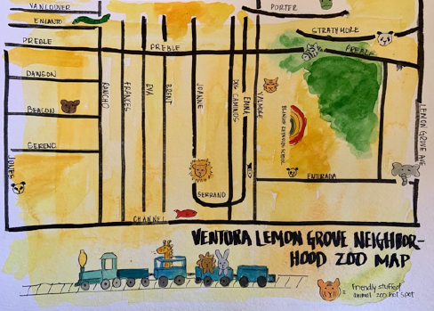 "photo of a hand drawn map titled ""Ventura Lemon Grove Neighborhood Zoom Map"""